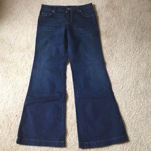 Prada dark blue jeans wide flare leg 26